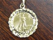 .999 1/10 OZ FINE GOLD 5 DOLLAR LIBERTY COIN SOLID 14K PENDANT